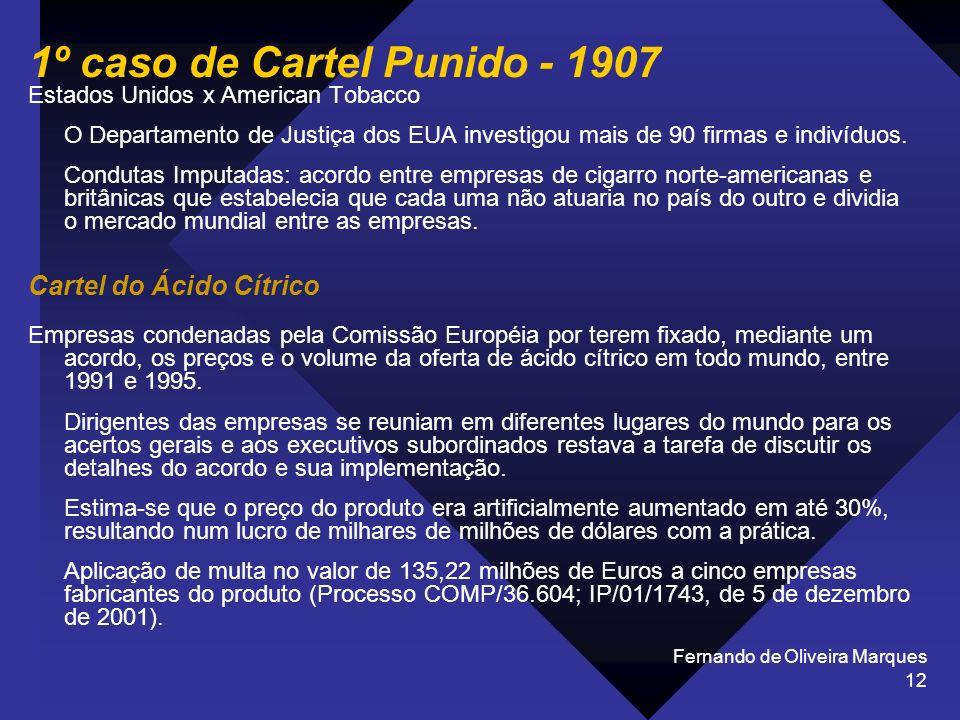 Fernando de Oliveira Marques 12 1º caso de Cartel Punido - 1907 Estados Unidos x American Tobacco O Departamento de Justiça dos EUA investigou mais de