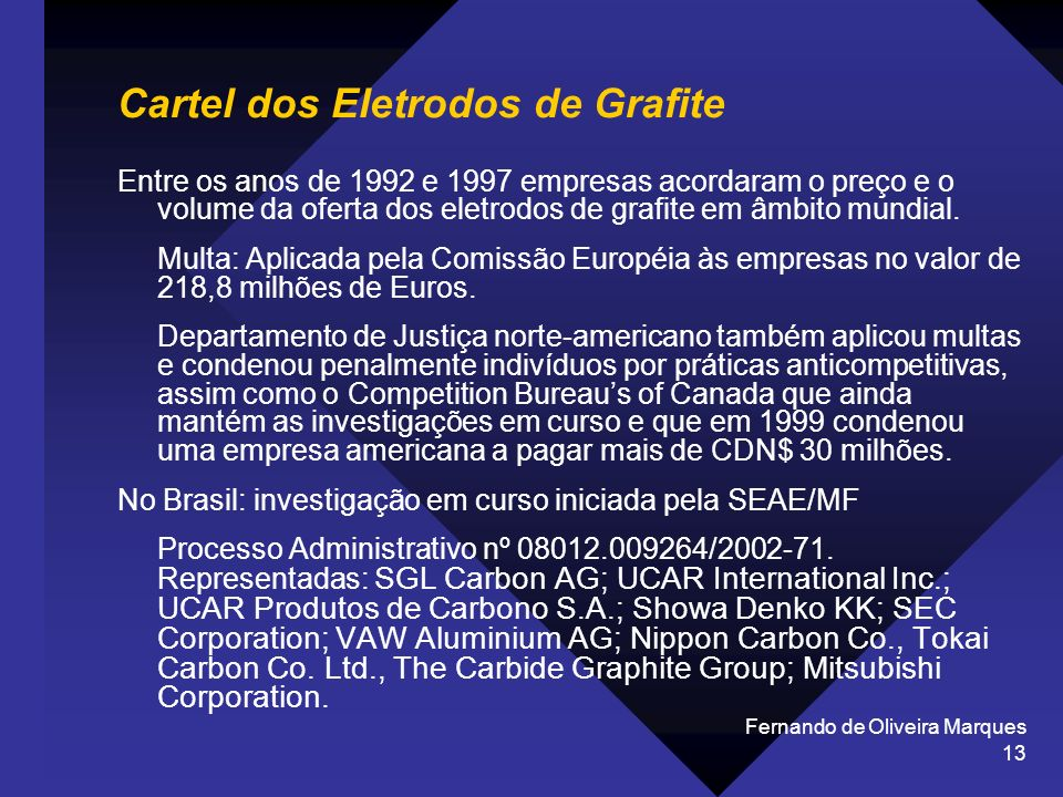 Fernando de Oliveira Marques 13 Cartel dos Eletrodos de Grafite Entre os anos de 1992 e 1997 empresas acordaram o preço e o volume da oferta dos eletr