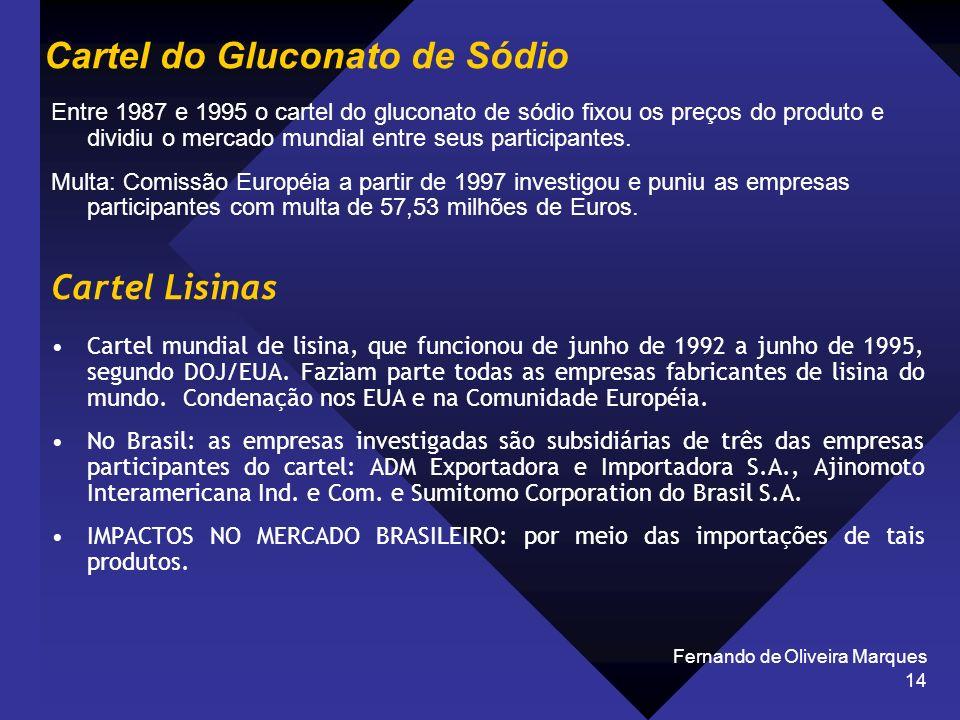 Fernando de Oliveira Marques 14 Cartel do Gluconato de Sódio Entre 1987 e 1995 o cartel do gluconato de sódio fixou os preços do produto e dividiu o m