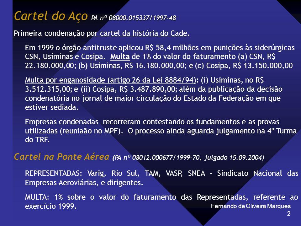 Fernando de Oliveira Marques 2 Cartel do Aço PA nº 08000.015337/1997-48 Primeira condenação por cartel da história do Cade. Em 1999 o órgão antitruste