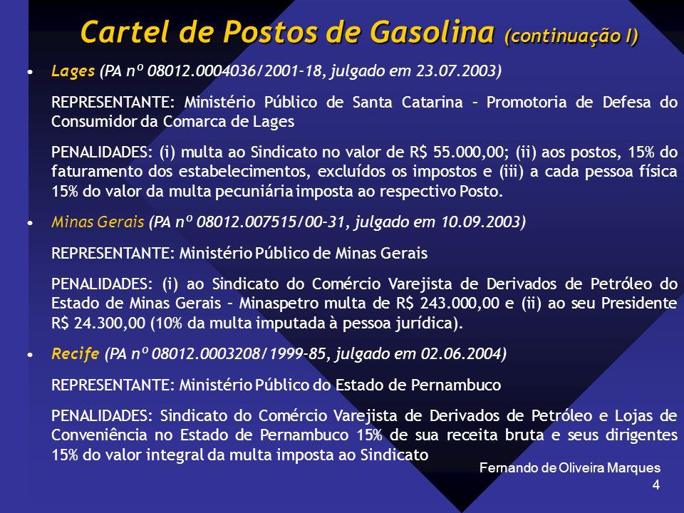 Fernando de Oliveira Marques 4 Cartel de Postos de Gasolina (continuação I) Lages (PA nº 08012.0004036/2001-18, julgado em 23.07.2003) REPRESENTANTE: