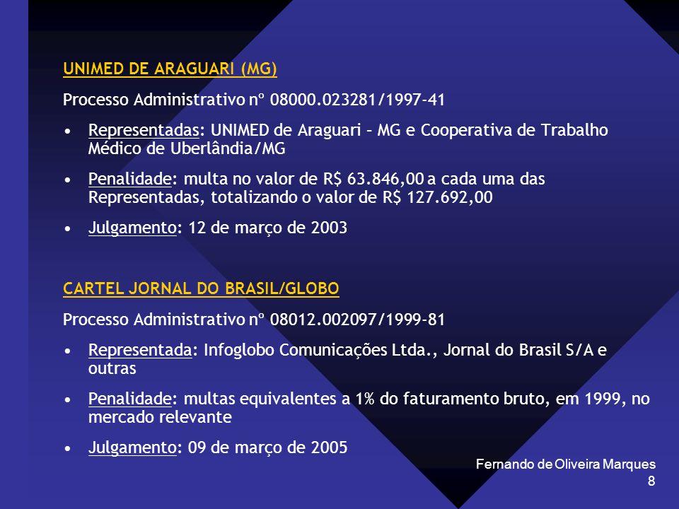 Fernando de Oliveira Marques 8 UNIMED DE ARAGUARI (MG) Processo Administrativo nº 08000.023281/1997-41 Representadas: UNIMED de Araguari – MG e Cooper