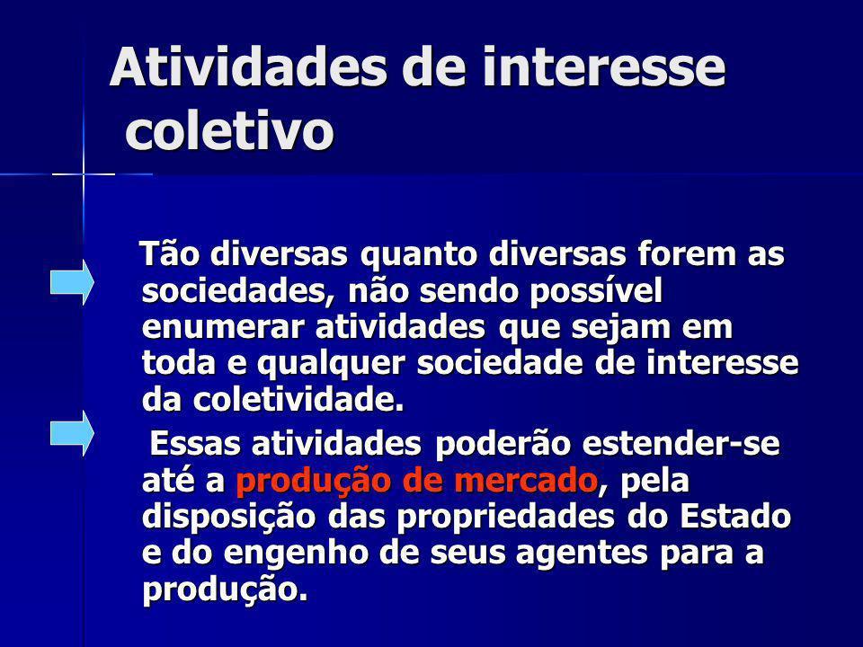 Atividades de interesse coletivo Tão diversas quanto diversas forem as sociedades, não sendo possível enumerar atividades que sejam em toda e qualquer sociedade de interesse da coletividade.