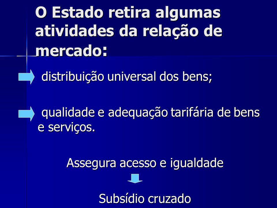 O Estado retira algumas atividades da relação de mercado : distribuição universal dos bens; distribuição universal dos bens; qualidade e adequação tarifária de bens e serviços.