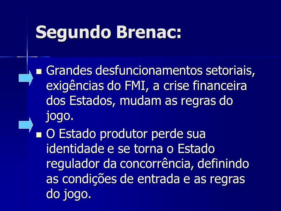 Segundo Brenac: Grandes desfuncionamentos setoriais, exigências do FMI, a crise financeira dos Estados, mudam as regras do jogo. Grandes desfuncioname