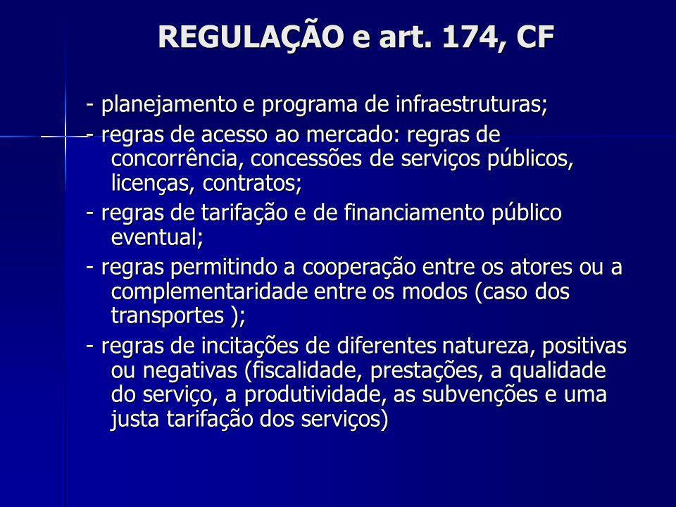 REGULAÇÃO e art. 174, CF - planejamento e programa de infraestruturas; - regras de acesso ao mercado: regras de concorrência, concessões de serviços p