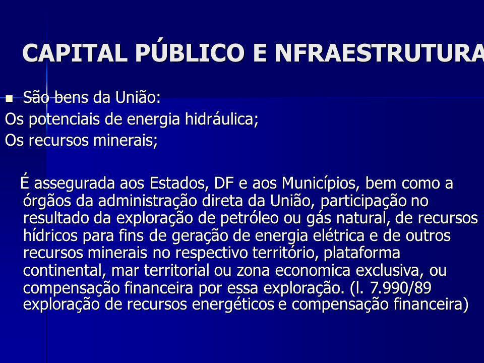 CAPITAL PÚBLICO E NFRAESTRUTURA São bens da União: São bens da União: Os potenciais de energia hidráulica; Os recursos minerais; É assegurada aos Esta