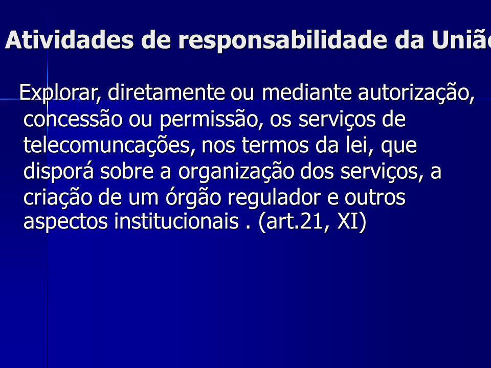 Atividades de responsabilidade da União Explorar, diretamente ou mediante autorização, concessão ou permissão, os serviços de telecomuncações, nos ter