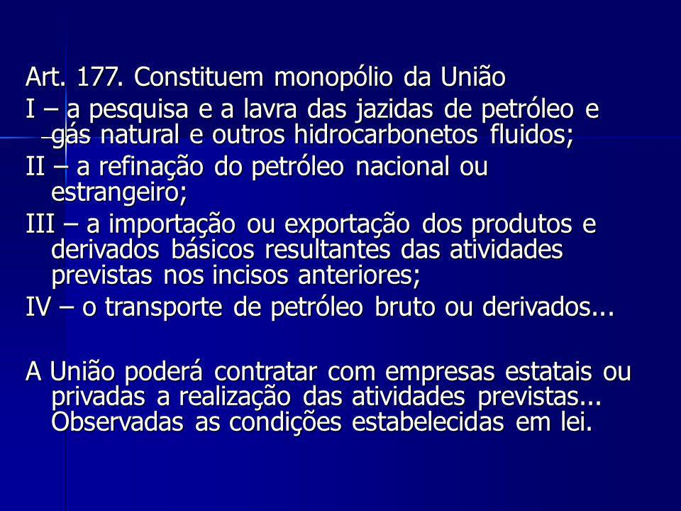 Art. 177. Constituem monopólio da União I – a pesquisa e a lavra das jazidas de petróleo e gás natural e outros hidrocarbonetos fluidos; II – a refina