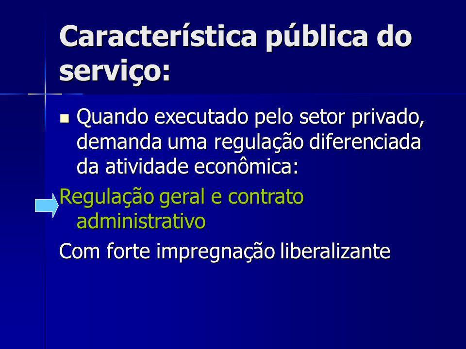 Característica pública do serviço: Quando executado pelo setor privado, demanda uma regulação diferenciada da atividade econômica: Quando executado pe