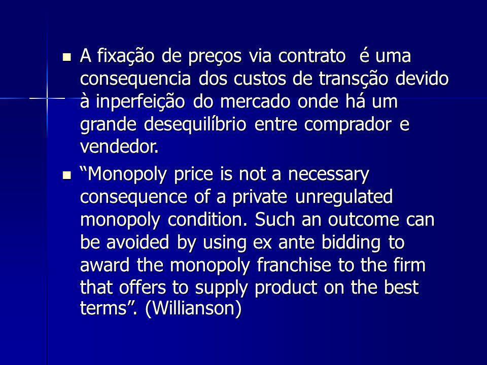 A fixação de preços via contrato é uma consequencia dos custos de transção devido à inperfeição do mercado onde há um grande desequilíbrio entre comprador e vendedor.