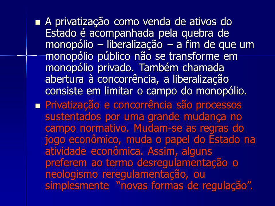 A privatização como venda de ativos do Estado é acompanhada pela quebra de monopólio – liberalização – a fim de que um monopólio público não se transf