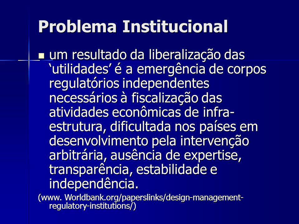 Problema Institucional um resultado da liberalização das utilidades é a emergência de corpos regulatórios independentes necessários à fiscalização das