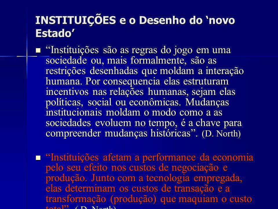 INSTITUIÇÕES e o Desenho do novo Estado Instituições são as regras do jogo em uma sociedade ou, mais formalmente, são as restrições desenhadas que mol