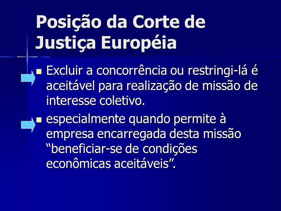 Posição da Corte de Justiça Européia Excluir a concorrência ou restringi-lá é aceitável para realização de missão de interesse coletivo. Excluir a con