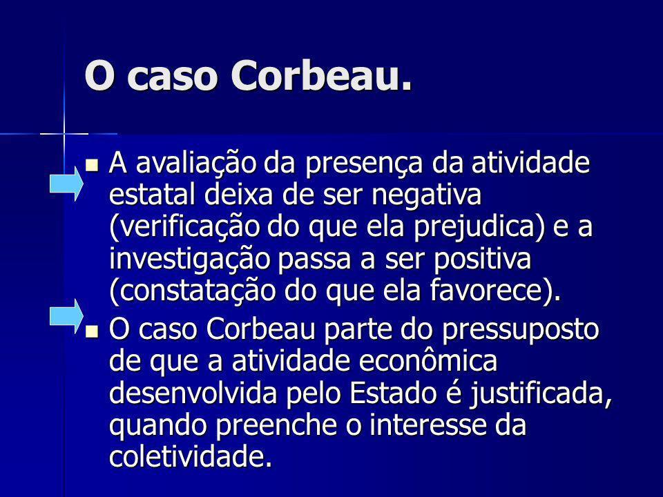O caso Corbeau. A avaliação da presença da atividade estatal deixa de ser negativa (verificação do que ela prejudica) e a investigação passa a ser pos