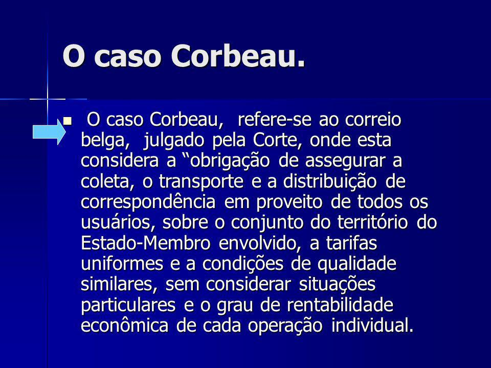 O caso Corbeau. O caso Corbeau, refere-se ao correio belga, julgado pela Corte, onde esta considera a obrigação de assegurar a coleta, o transporte e