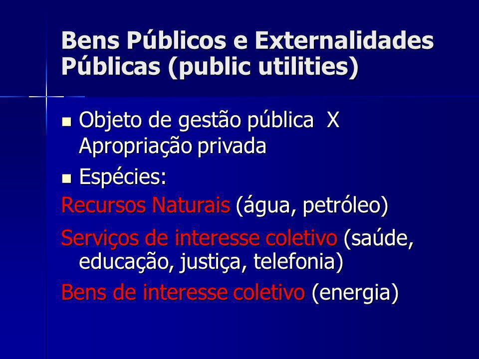Bens Públicos e Externalidades Públicas (public utilities) Objeto de gestão pública X Apropriação privada Objeto de gestão pública X Apropriação priva