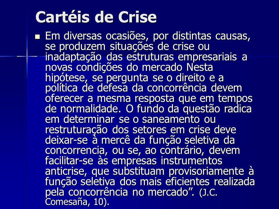 Cartéis de Crise Em diversas ocasiões, por distintas causas, se produzem situações de crise ou inadaptação das estruturas empresariais a novas condiçõ