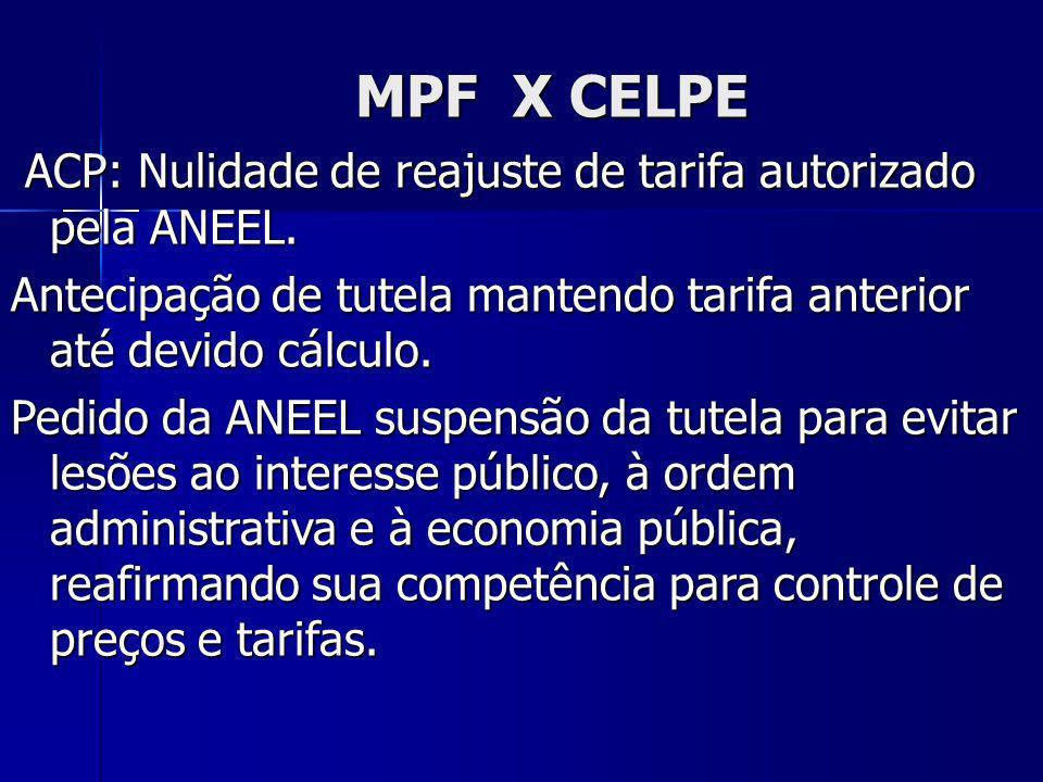MPF X CELPE ACP: Nulidade de reajuste de tarifa autorizado pela ANEEL. ACP: Nulidade de reajuste de tarifa autorizado pela ANEEL. Antecipação de tutel