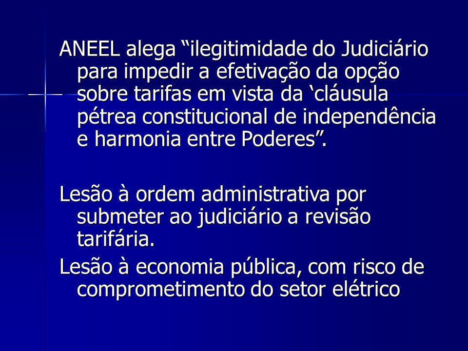 ANEEL alega ilegitimidade do Judiciário para impedir a efetivação da opção sobre tarifas em vista da cláusula pétrea constitucional de independência e