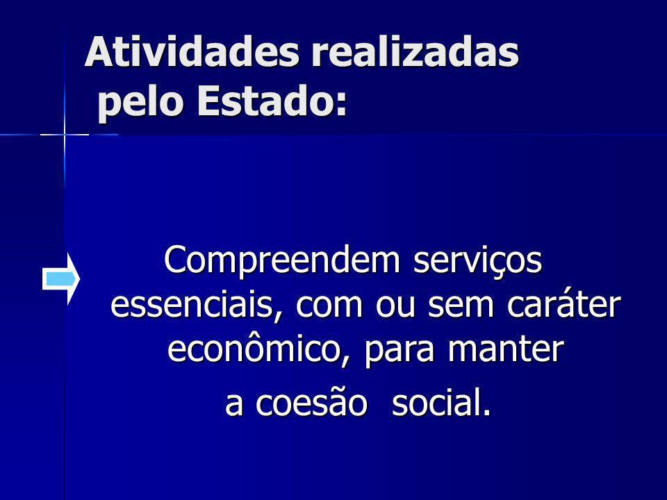 Compreendem serviços essenciais, com ou sem caráter econômico, para manter a coesão social. a coesão social. Atividades realizadas pelo Estado: