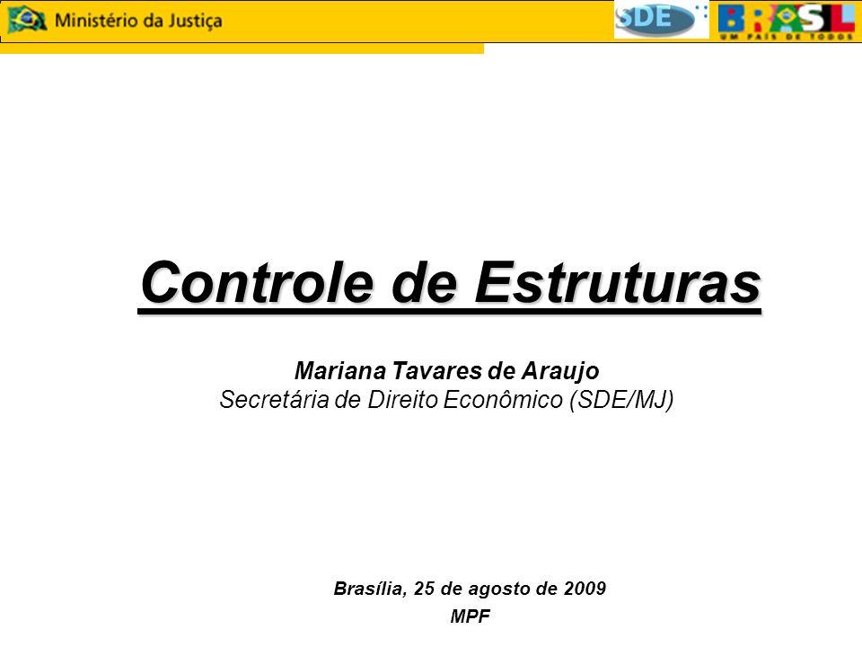 Controle de Estruturas Controle de Estruturas Mariana Tavares de Araujo Secretária de Direito Econômico (SDE/MJ) Brasília, 25 de agosto de 2009 MPF