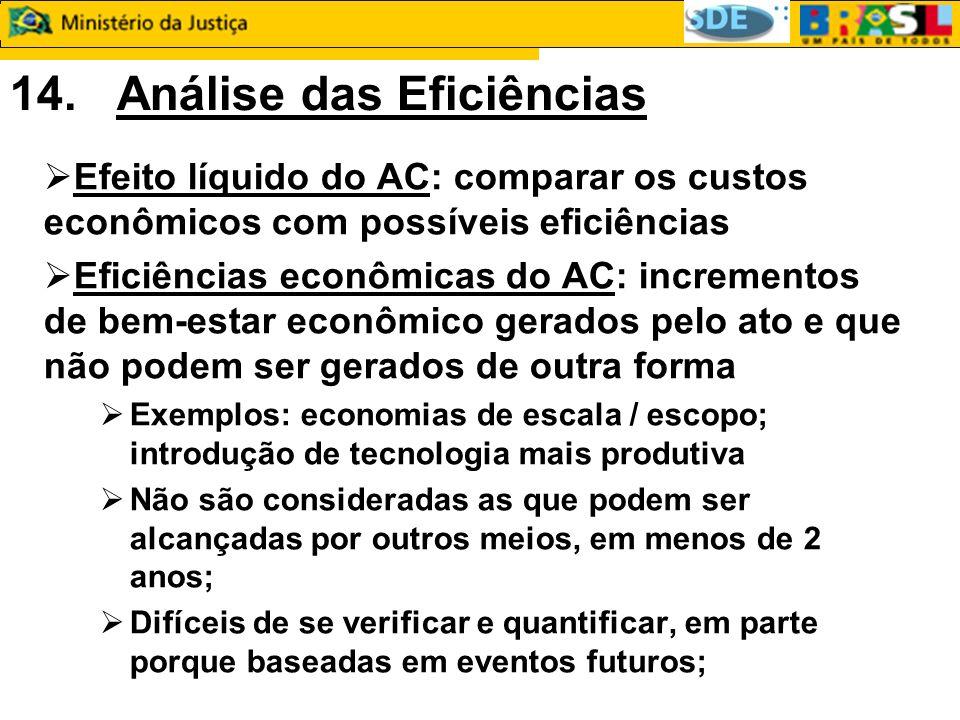 14. Análise das Eficiências Efeito líquido do AC: comparar os custos econômicos com possíveis eficiências Eficiências econômicas do AC: incrementos de