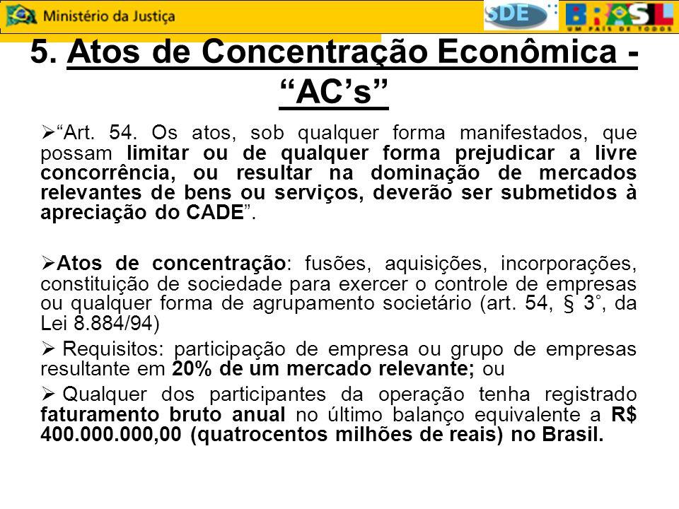 5. Atos de Concentração Econômica - ACs Art. 54.
