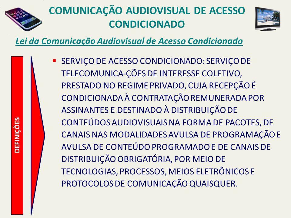 DEFINIÇÕES Lei da Comunicação Audiovisual de Acesso Condicionado SERVIÇO DE ACESSO CONDICIONADO: SERVIÇO DE TELECOMUNICA-ÇÕES DE INTERESSE COLETIVO, P