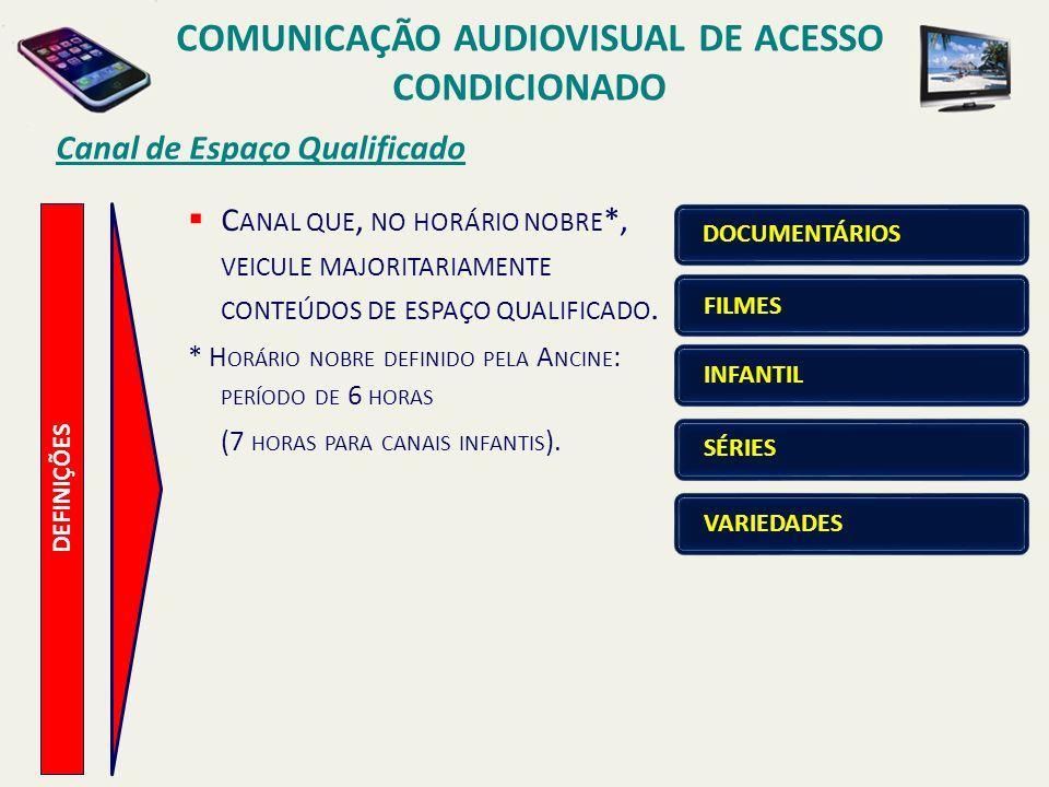 Canal de Espaço Qualificado COMUNICAÇÃO AUDIOVISUAL DE ACESSO CONDICIONADO DEFINIÇÕES C ANAL QUE, NO HORÁRIO NOBRE *, VEICULE MAJORITARIAMENTE CONTEÚD