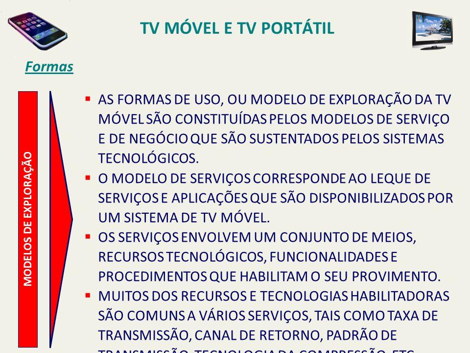 MODELOS DE EXPLORAÇÃO AS FORMAS DE USO, OU MODELO DE EXPLORAÇÃO DA TV MÓVEL SÃO CONSTITUÍDAS PELOS MODELOS DE SERVIÇO E DE NEGÓCIO QUE SÃO SUSTENTADOS