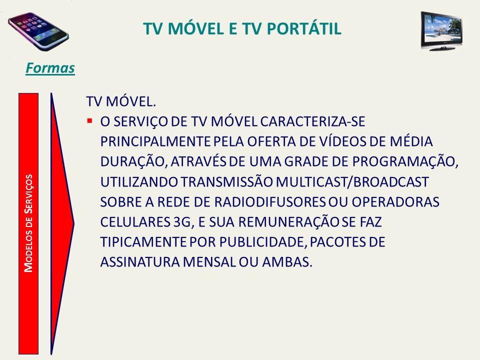 M ODELOS DE S ERVIÇOS TV MÓVEL. O SERVIÇO DE TV MÓVEL CARACTERIZA-SE PRINCIPALMENTE PELA OFERTA DE VÍDEOS DE MÉDIA DURAÇÃO, ATRAVÉS DE UMA GRADE DE PR