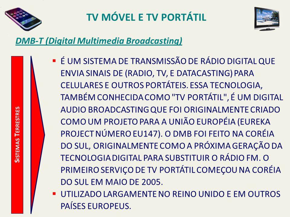 S ISTEMAS T ERRESTRES DMB-T (Digital Multimedia Broadcasting) É UM SISTEMA DE TRANSMISSÃO DE RÁDIO DIGITAL QUE ENVIA SINAIS DE (RADIO, TV, E DATACASTI