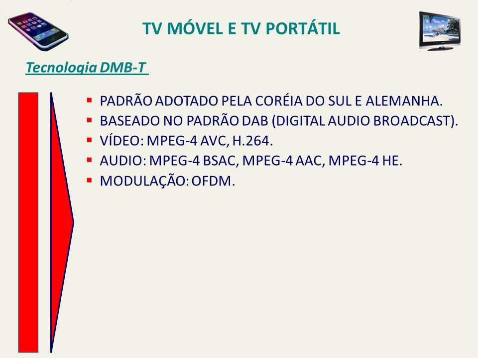 PADRÃO ADOTADO PELA CORÉIA DO SUL E ALEMANHA. BASEADO NO PADRÃO DAB (DIGITAL AUDIO BROADCAST). VÍDEO: MPEG-4 AVC, H.264. AUDIO: MPEG-4 BSAC, MPEG-4 AA