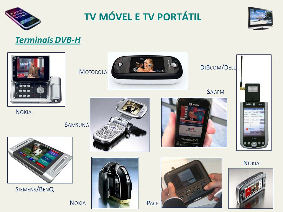 N OKIA M OTOROLA S AMSUNG S IEMENS /B EN Q N OKIA S AGEM P ACE D I B COM /D ELL N OKIA Terminais DVB-H TV MÓVEL E TV PORTÁTIL
