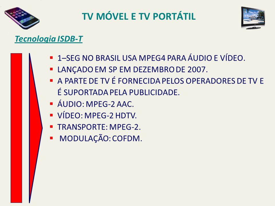 Tecnologia ISDB-T 1–SEG NO BRASIL USA MPEG4 PARA ÁUDIO E VÍDEO. LANÇADO EM SP EM DEZEMBRO DE 2007. A PARTE DE TV É FORNECIDA PELOS OPERADORES DE TV E
