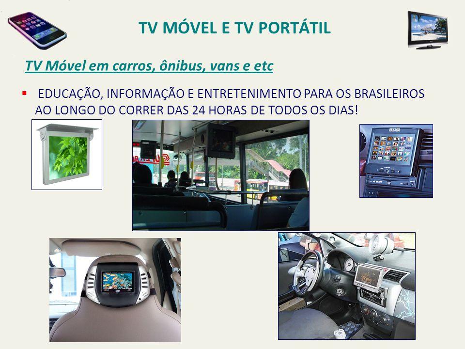 EDUCAÇÃO, INFORMAÇÃO E ENTRETENIMENTO PARA OS BRASILEIROS AO LONGO DO CORRER DAS 24 HORAS DE TODOS OS DIAS! TV Móvel em carros, ônibus, vans e etc TV
