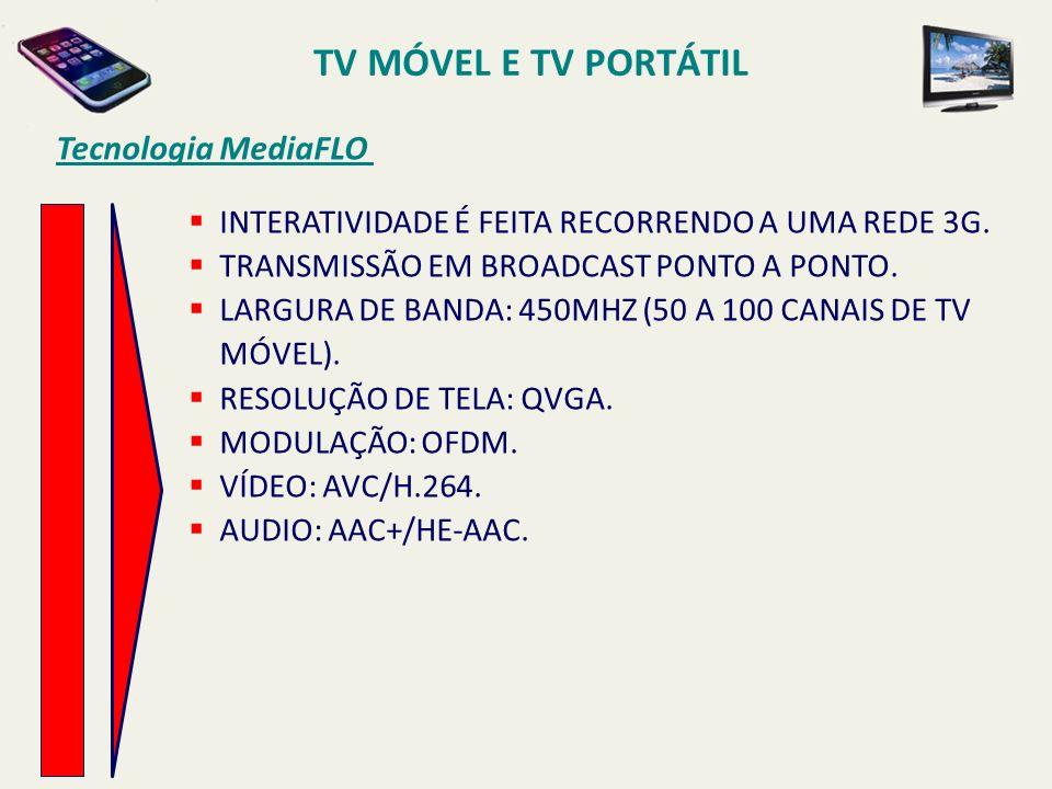 INTERATIVIDADE É FEITA RECORRENDO A UMA REDE 3G. TRANSMISSÃO EM BROADCAST PONTO A PONTO. LARGURA DE BANDA: 450MHZ (50 A 100 CANAIS DE TV MÓVEL). RESOL