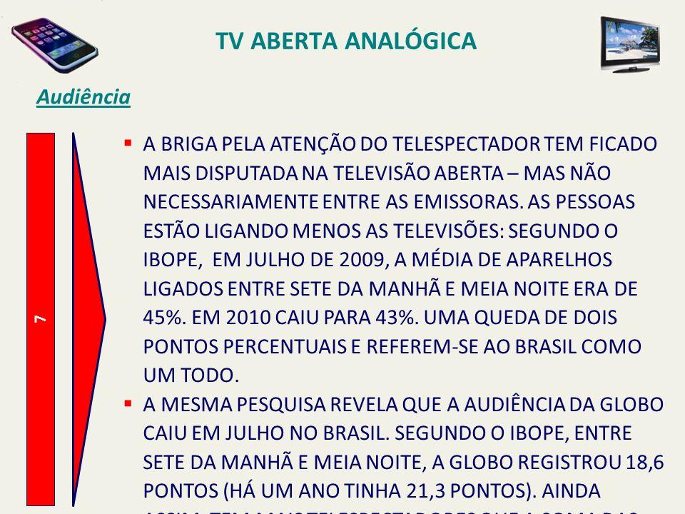 7 Audiência A BRIGA PELA ATENÇÃO DO TELESPECTADOR TEM FICADO MAIS DISPUTADA NA TELEVISÃO ABERTA – MAS NÃO NECESSARIAMENTE ENTRE AS EMISSORAS. AS PESSO