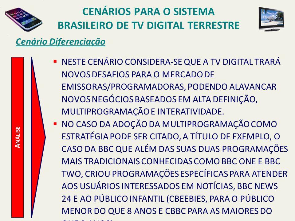 A NÁLISE Cenário Diferenciação NESTE CENÁRIO CONSIDERA-SE QUE A TV DIGITAL TRARÁ NOVOS DESAFIOS PARA O MERCADO DE EMISSORAS/PROGRAMADORAS, PODENDO ALA