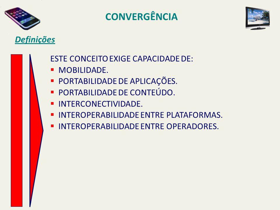 CONVERGÊNCIA Definições QUALQUER APLICAÇÃO DE TECNOLOGIA DE INFORMAÇÃO E COMUNICAÇÃO QUE SE POSSA IMAGINAR, COMO POR EXEMPLO: TV DIGITAL, INTERNET MÓVEL, VÍDEO CONFERÊNCIA, TELEFONIA FIXA OU MÓVEL, DIFUSÃO INTERATIVA DE CONTEÚDO, ETC, OU SEJA, TECNOLOGIAS QUE ENVOLVAM SETORES DE TELECOMUNICAÇÕES, MEIOS DE COMUNICAÇÃO E TECNOLOGIA DE INFORMAÇÃO CONSTITUEM ELEMENTOS QUE SUPORTAM A CONVERGÊNCIA TECNOLÓGICA.