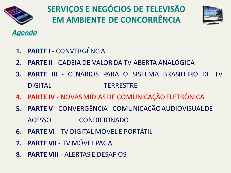 Agenda 1.PARTE I - CONVERGÊNCIA 2.PARTE II - CADEIA DE VALOR DA TV ABERTA ANALÓGICA 3.PARTE III - CENÁRIOS PARA O SISTEMA BRASILEIRO DE TV DIGITAL TER