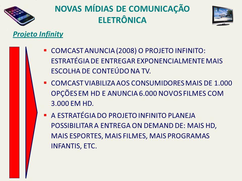 Projeto Infinity COMCAST ANUNCIA (2008) O PROJETO INFINITO: ESTRATÉGIA DE ENTREGAR EXPONENCIALMENTE MAIS ESCOLHA DE CONTEÚDO NA TV. COMCAST VIABILIZA
