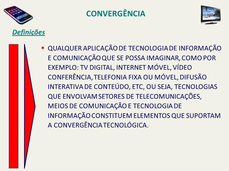 CONVERGÊNCIA Definições QUALQUER APLICAÇÃO DE TECNOLOGIA DE INFORMAÇÃO E COMUNICAÇÃO QUE SE POSSA IMAGINAR, COMO POR EXEMPLO: TV DIGITAL, INTERNET MÓV