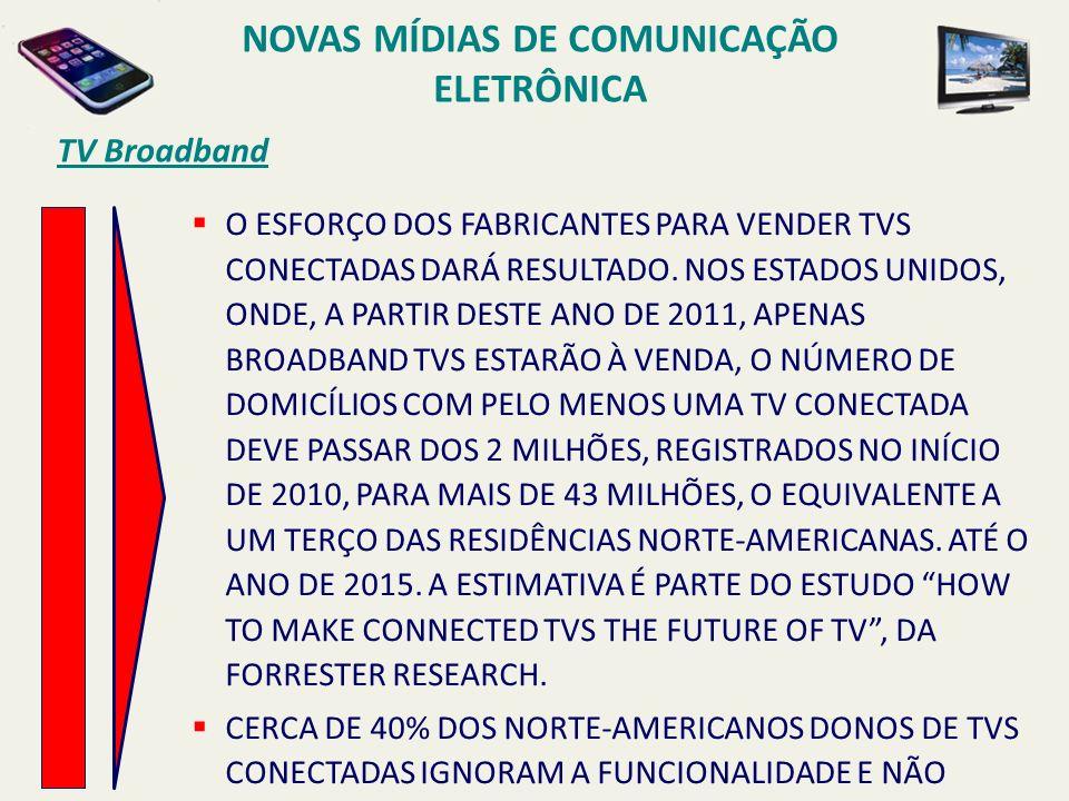 TV Broadband O ESFORÇO DOS FABRICANTES PARA VENDER TVS CONECTADAS DARÁ RESULTADO. NOS ESTADOS UNIDOS, ONDE, A PARTIR DESTE ANO DE 2011, APENAS BROADBA