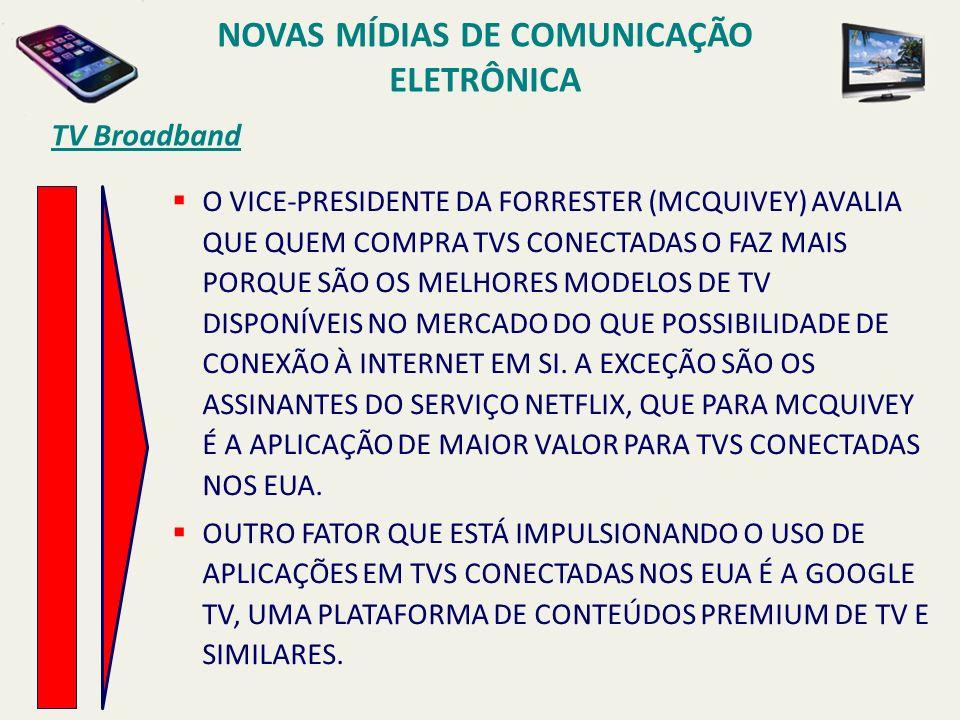 TV Broadband O VICE-PRESIDENTE DA FORRESTER (MCQUIVEY) AVALIA QUE QUEM COMPRA TVS CONECTADAS O FAZ MAIS PORQUE SÃO OS MELHORES MODELOS DE TV DISPONÍVE