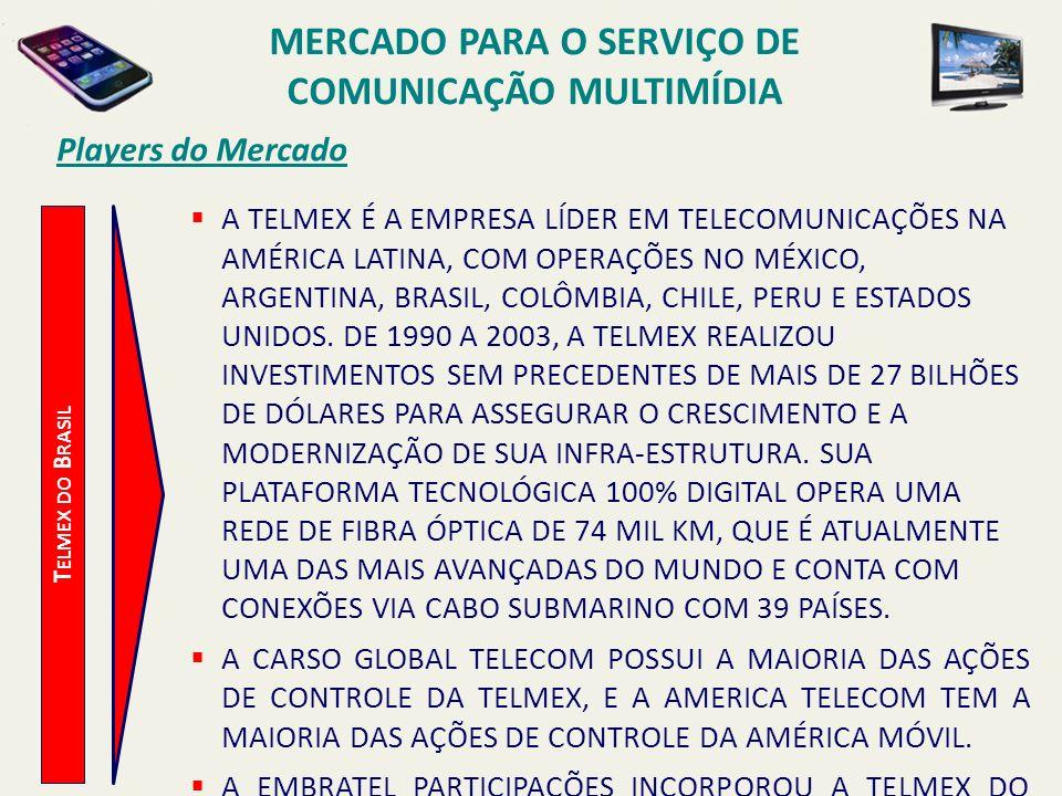 Players do Mercado T ELMEX DO B RASIL A TELMEX É A EMPRESA LÍDER EM TELECOMUNICAÇÕES NA AMÉRICA LATINA, COM OPERAÇÕES NO MÉXICO, ARGENTINA, BRASIL, CO