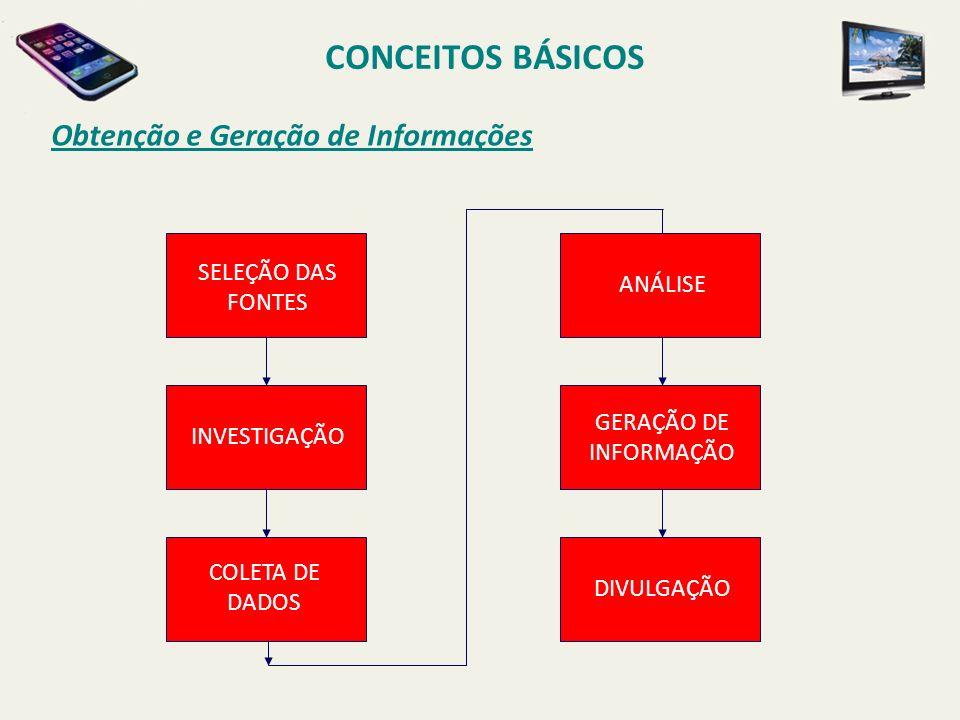 Obtenção e Geração de Informações CONCEITOS BÁSICOS SELEÇÃO DAS FONTES INVESTIGAÇÃO COLETA DE DADOS ANÁLISE GERAÇÃO DE INFORMAÇÃO DIVULGAÇÃO