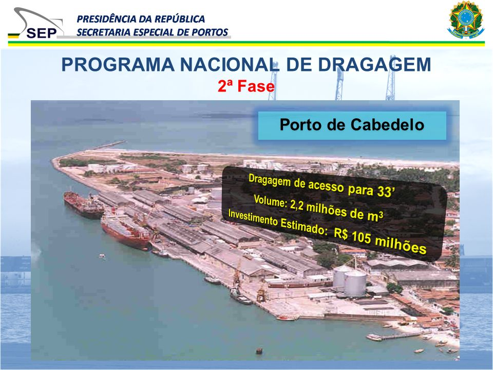 2ª Fase PROGRAMA NACIONAL DE DRAGAGEM Porto de Cabedelo